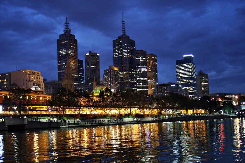 Melbourne by night, Melbourne, Victoria, Australia
