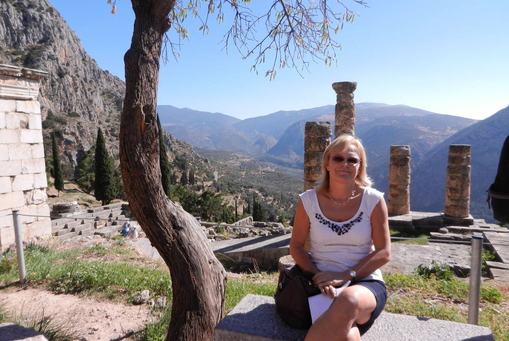 Meriel Lowe in Ancient Delphi, Greece