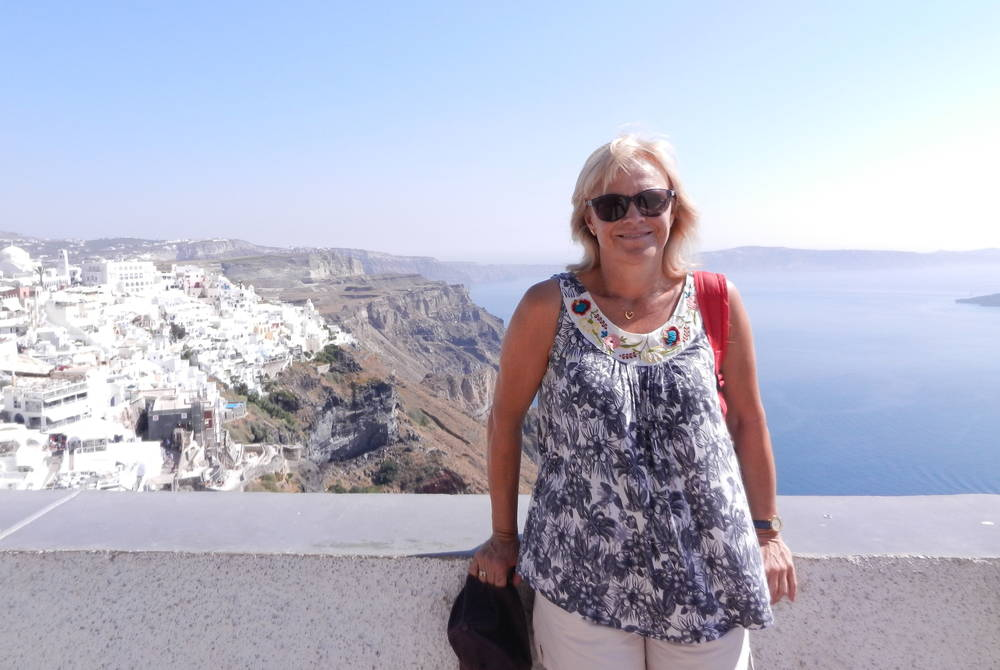 Meriel Lowe in Santorini, Greece