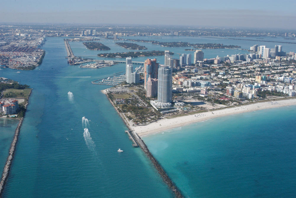Skyline of Miami Florida aerial view