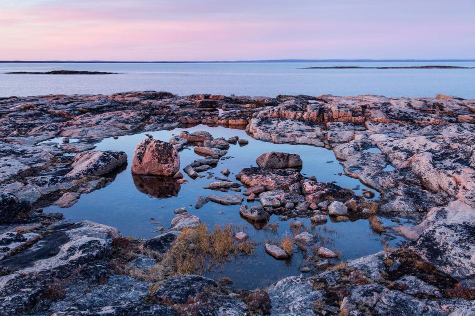 Midnight Sun over the Harbour Islands, Nunavut, Canada