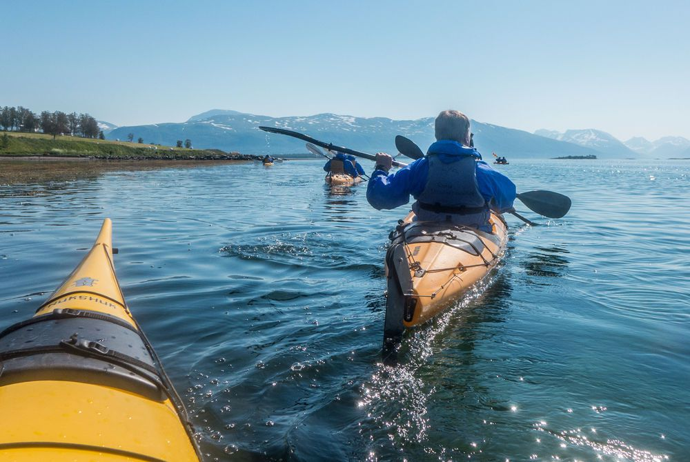 Kayaking near Tromso under the Midnight Sun