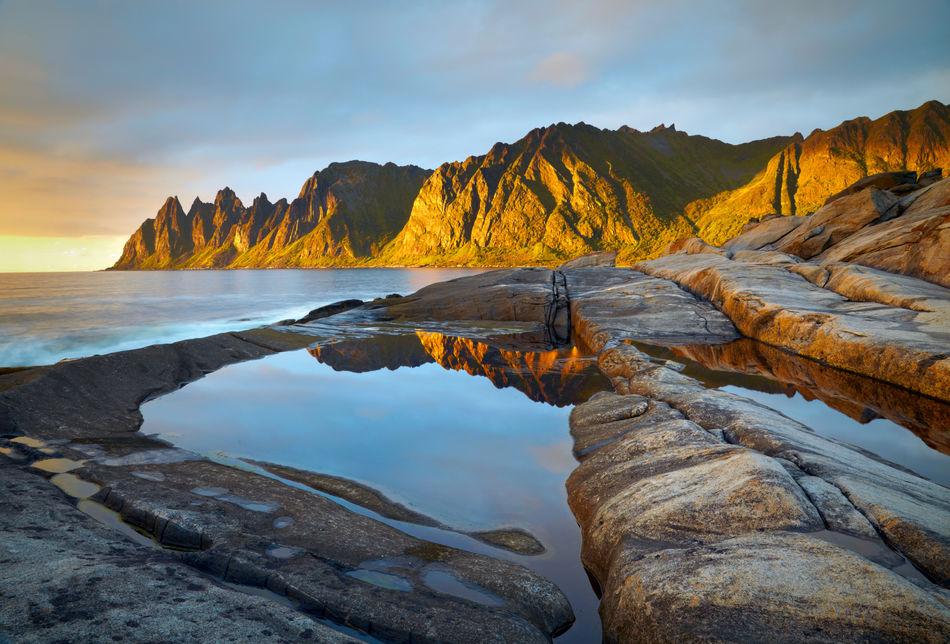 Midnight Sun on Senja, Norway