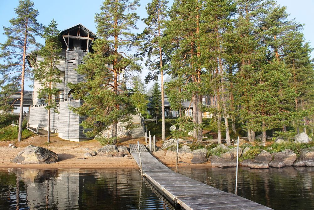 Midsummer view of Hotel Kalevala from the lake