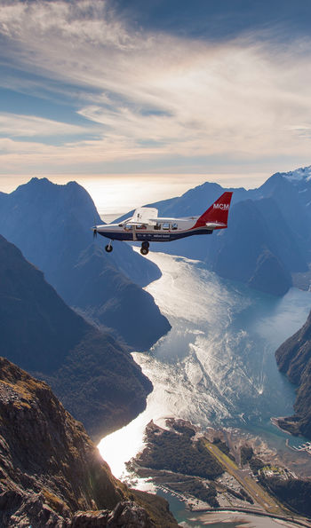 Light aircraft over New Zealand's Southern Alps