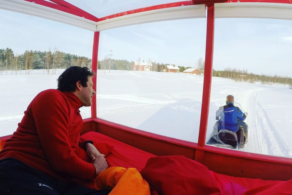 Mobile camp on Lake Inari
