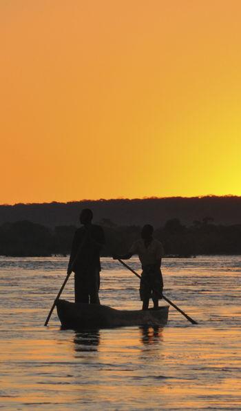 Mokoro boat at sunset
