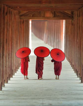Monks in Bagan in Myanmar (Burma)