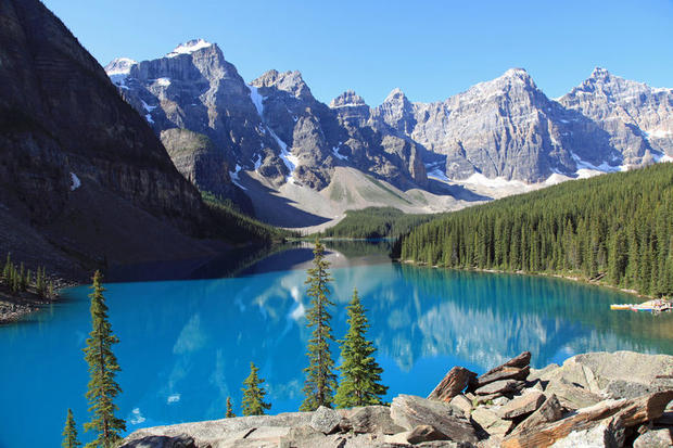 Views across Moraine Lake in Alberta, Canada