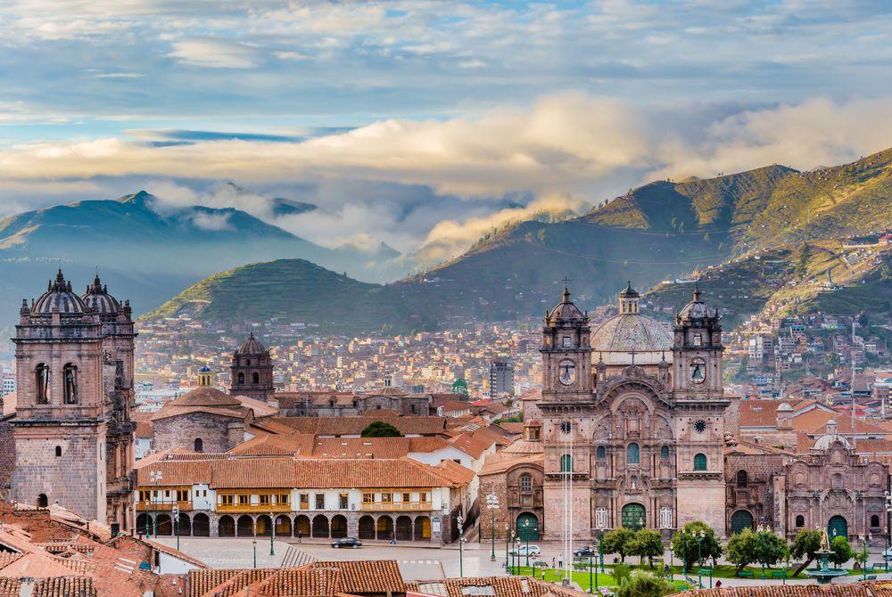 Morning sun over Plaza de Armas, Cusco