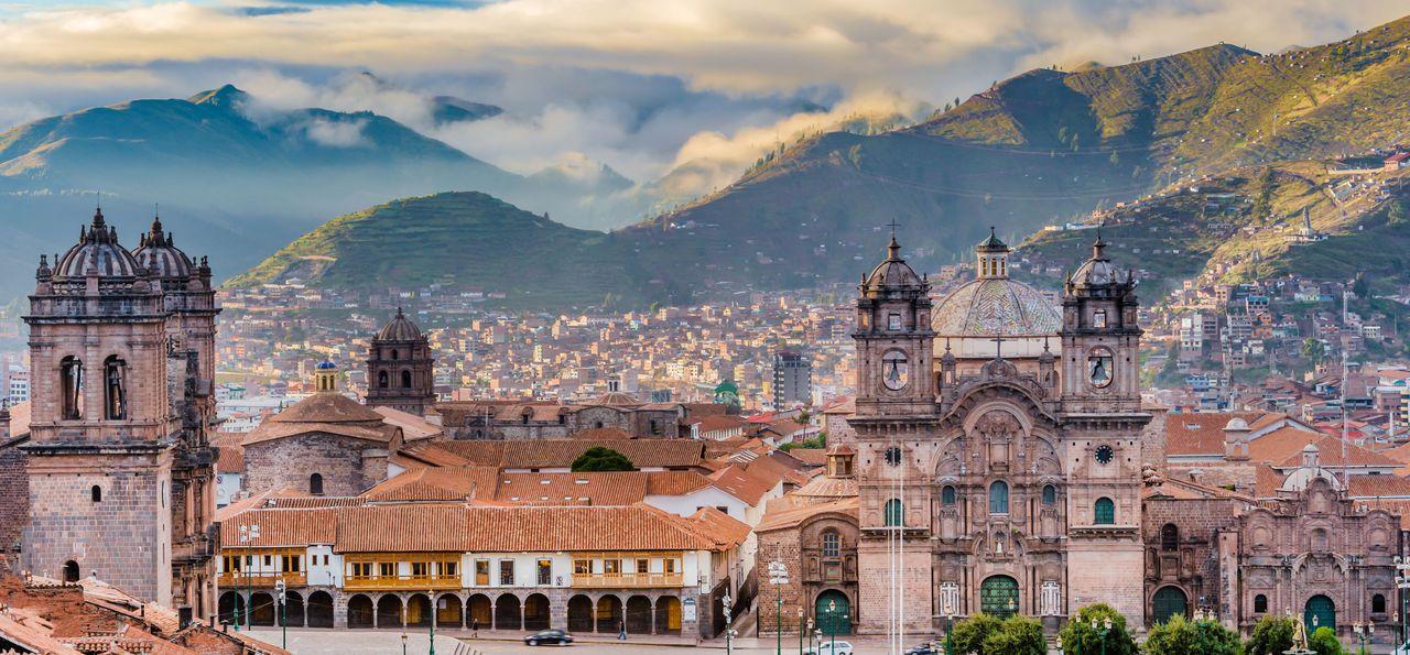 Morning sun over Plaza de Armas, Cusco, Peru