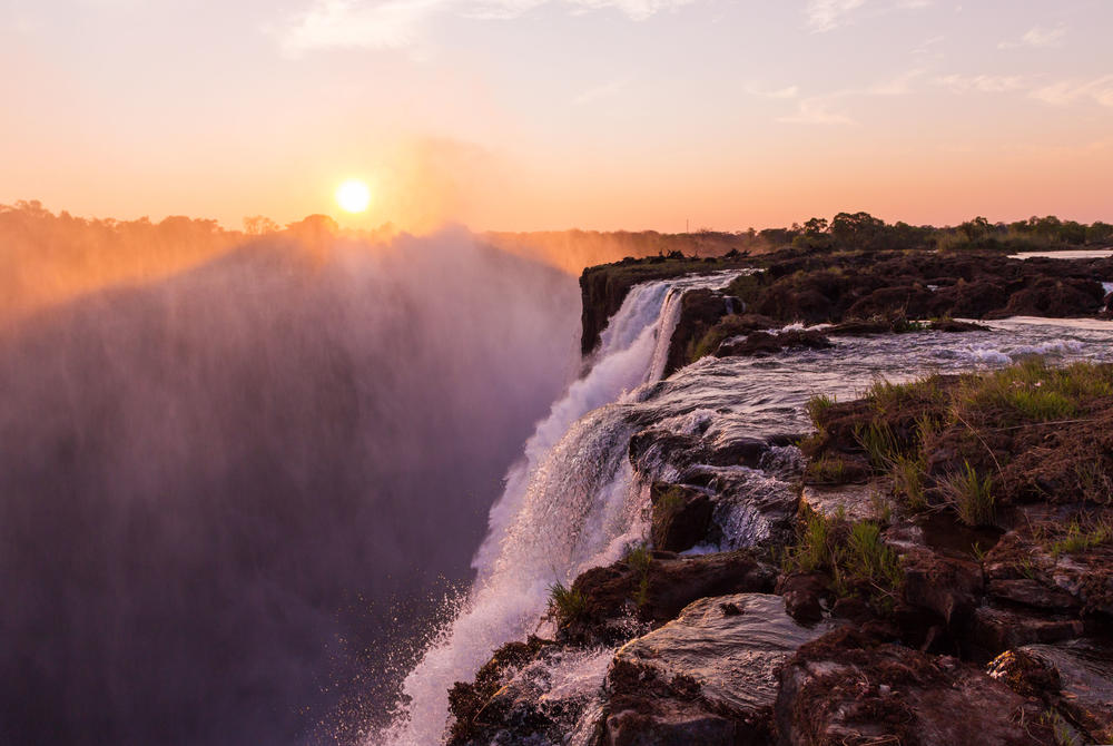 Victoria Falls at sunset in Zambia