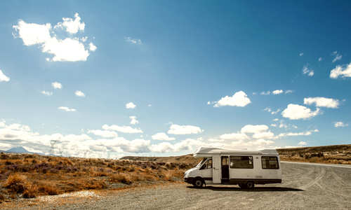 Motorhome parked by the road on the North Island of New Zealand