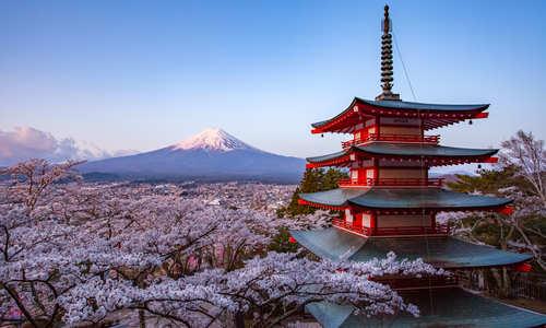 Mt. Fuji and Chureito Red Pagoda, Japan