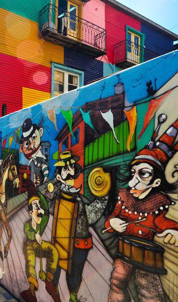 Mural in La Boca neighbourhood, Buenos Aires in Argentina