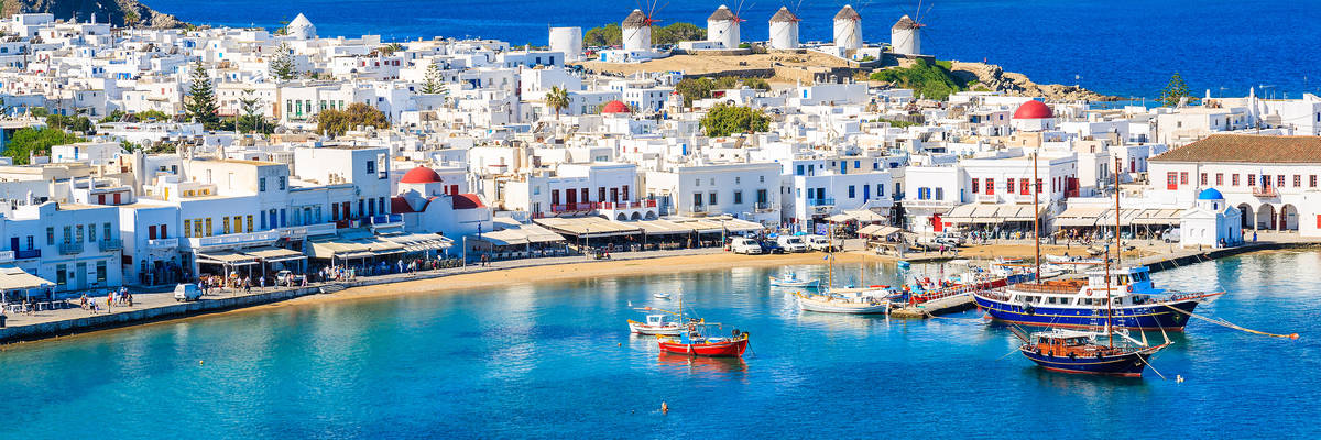 Mykonos port with boats, Cyclades islands, Greece