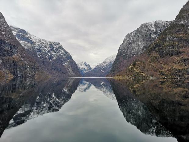 Nærøyfjord in winter on a cruise