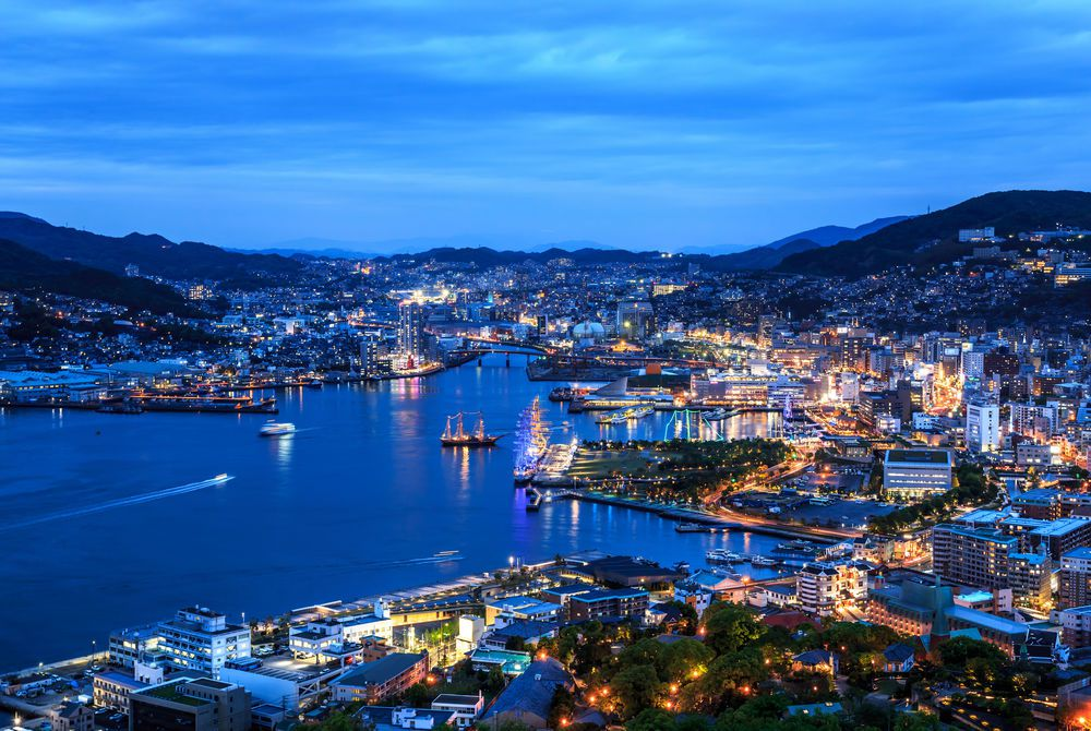 Nagasaki at night, Japan