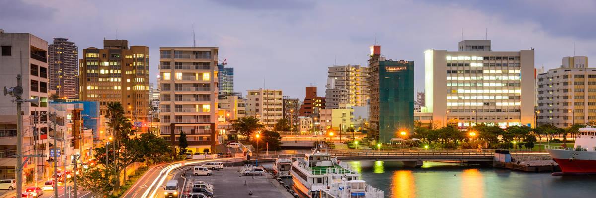 Naha, Okinawa, Japan cityscape at Tomari Port