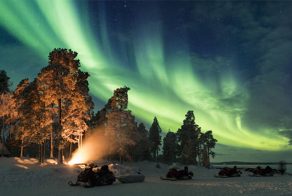 Northern Lights snowmobiling