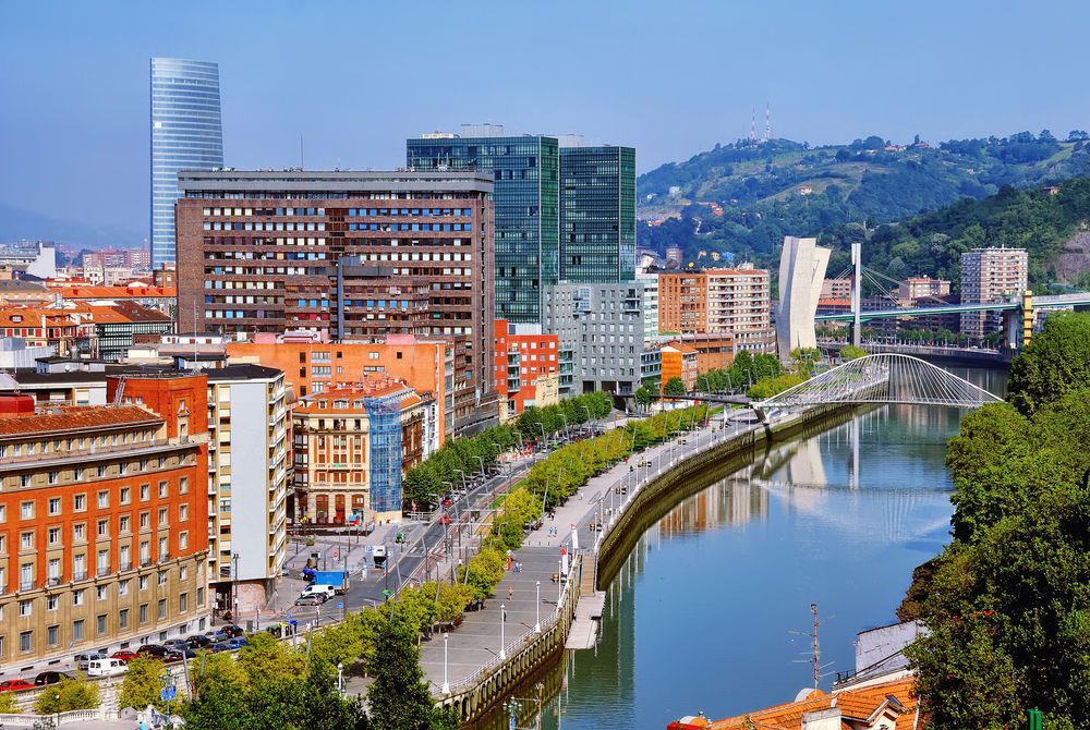 Nevion River and Zubizuri Bridge, Bilbao, Spain