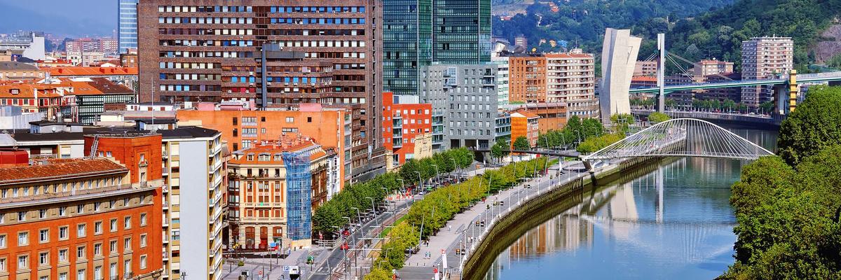 Nevion River and Zubizuri Bridge, Bilbao, Spain