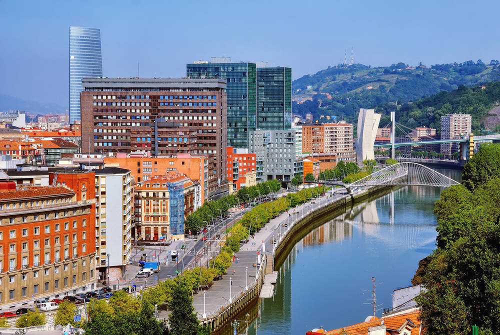 Nevion River and Zubizuri Bridge, Bilbao