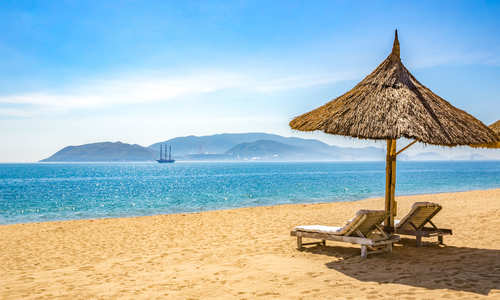 Nha Trang beach with beach chairs