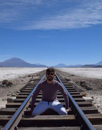 Norire Arakelyan in Uyuni salt flats, Bolivia