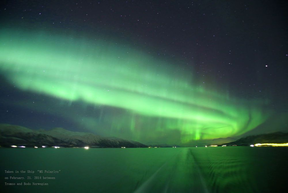 Northern Lights from the back of a Hurtigruten