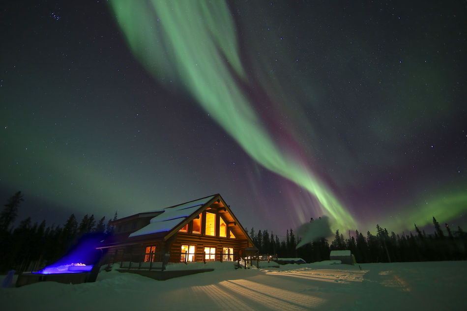 Northern Lights above the Northern Lights Resort & Spa