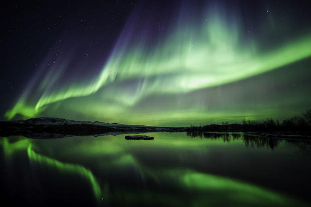 Northern Lights in Thingvellir National Park in south Iceland