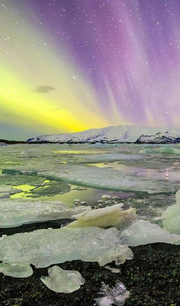 Northern Lights at Jokulsarlon Glacier Lagoon, Iceland