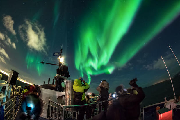 Northern Lights from a boat in Iceland