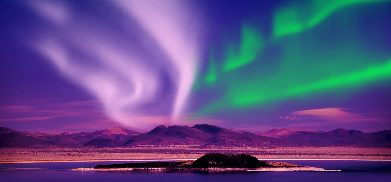 Northern lights aurora borealis in the night sky, The Yukon, Canada