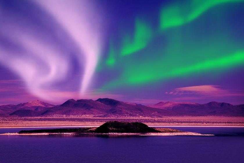 Northern lights aurora borealis in the night sky, The Yukon, Canada