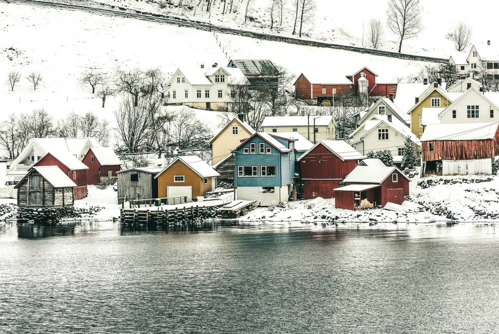 Fjord-side village in winter, Norway