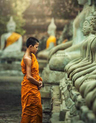 Novice monk practising Vipassana meditation, Laos