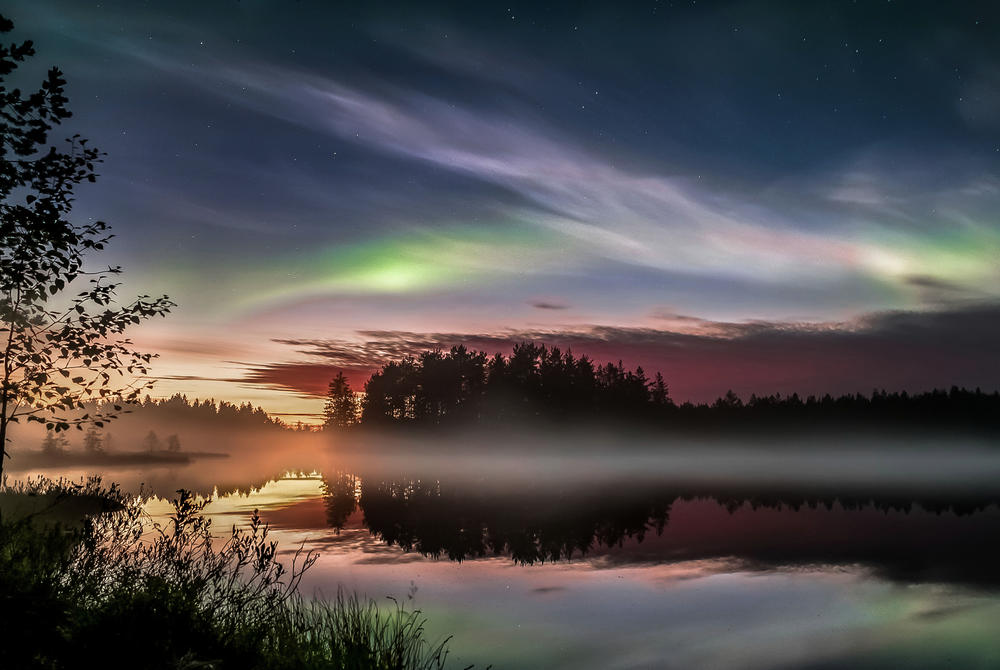 Northern Lights in Autumn over Finnish Lapland