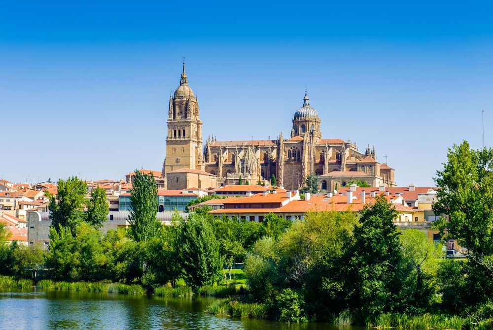 Old City of Salamanca, UNESCO World Heritage Site, and the River Tormes in Salamanca, Spain