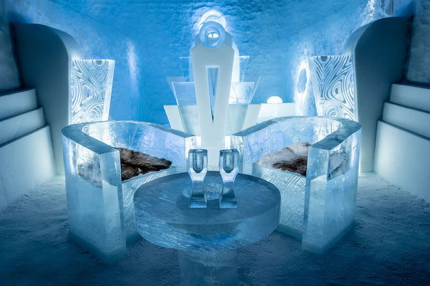 One of the 2016-2017 art suites at the ICEHOTEL called once upon a time