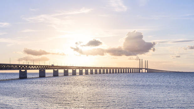 Øresund Bridge as the sun sets