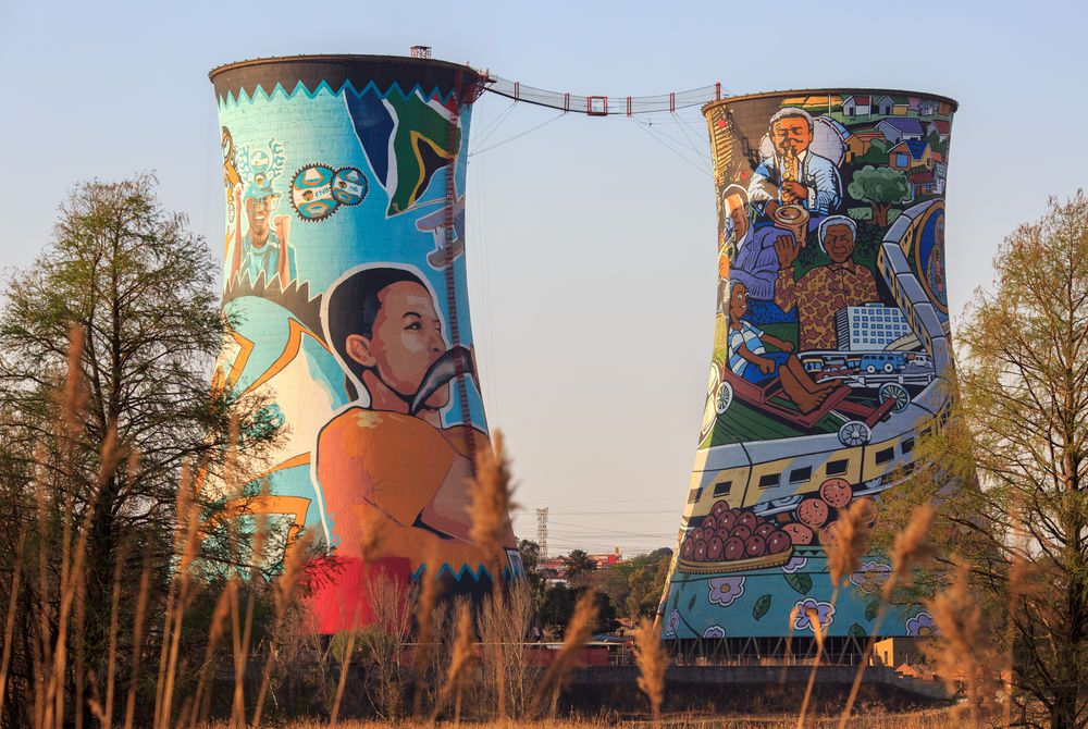 Orlando Towers Painted chimneys, Soweto, South Africa