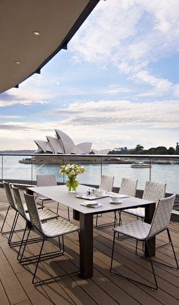 View of the Sydney Opera House from the Park Hyatt dining terrace