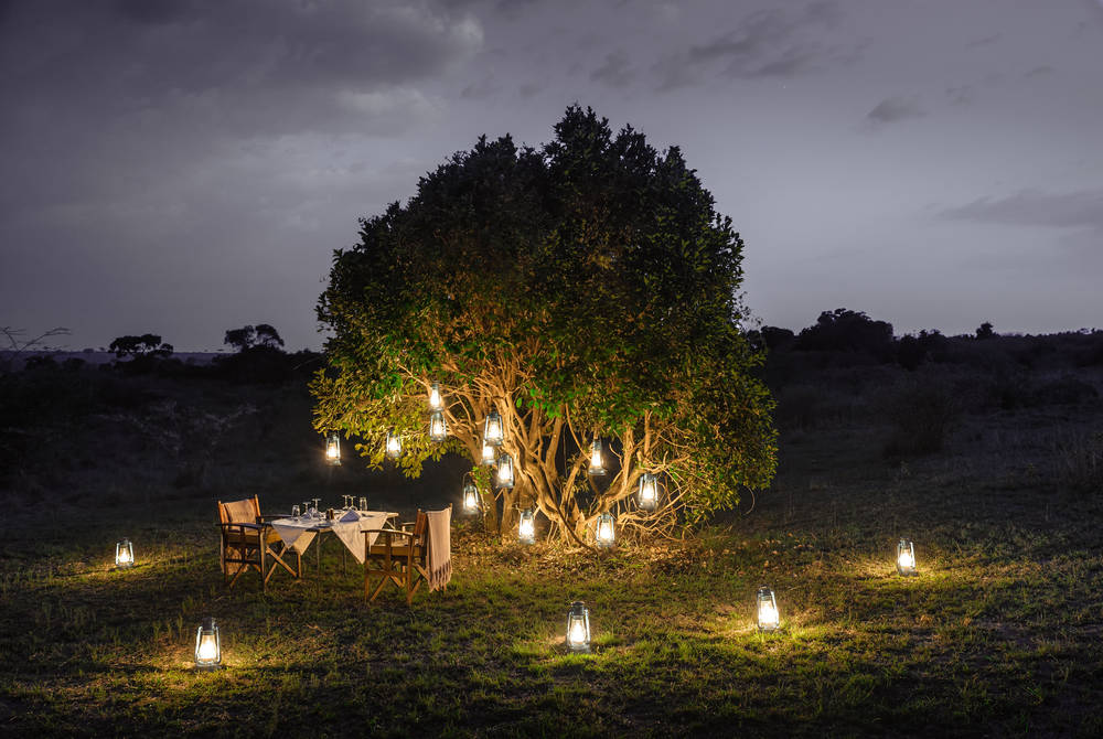 Outdoor private dining, Sanctuary Olonana, Kenya
