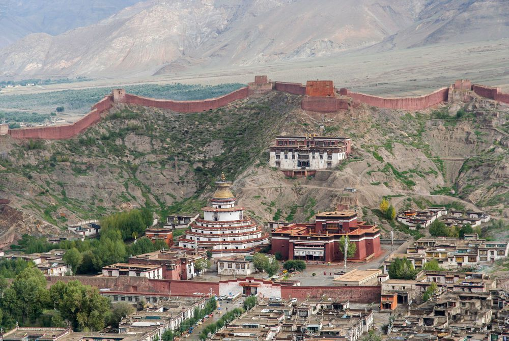 Palkhor Monastery and the aerial view of the walled Gyantse town in Tibet