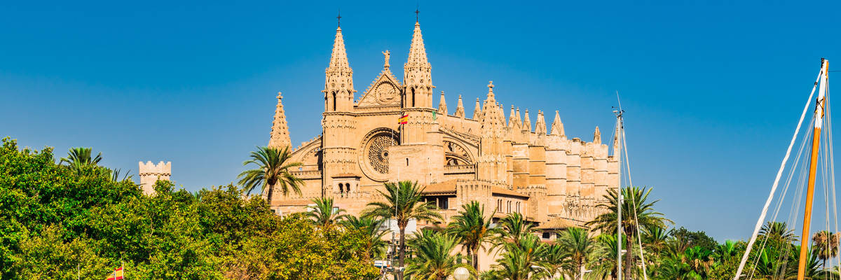 Palma de Mallorca port with La Seu Cathedral