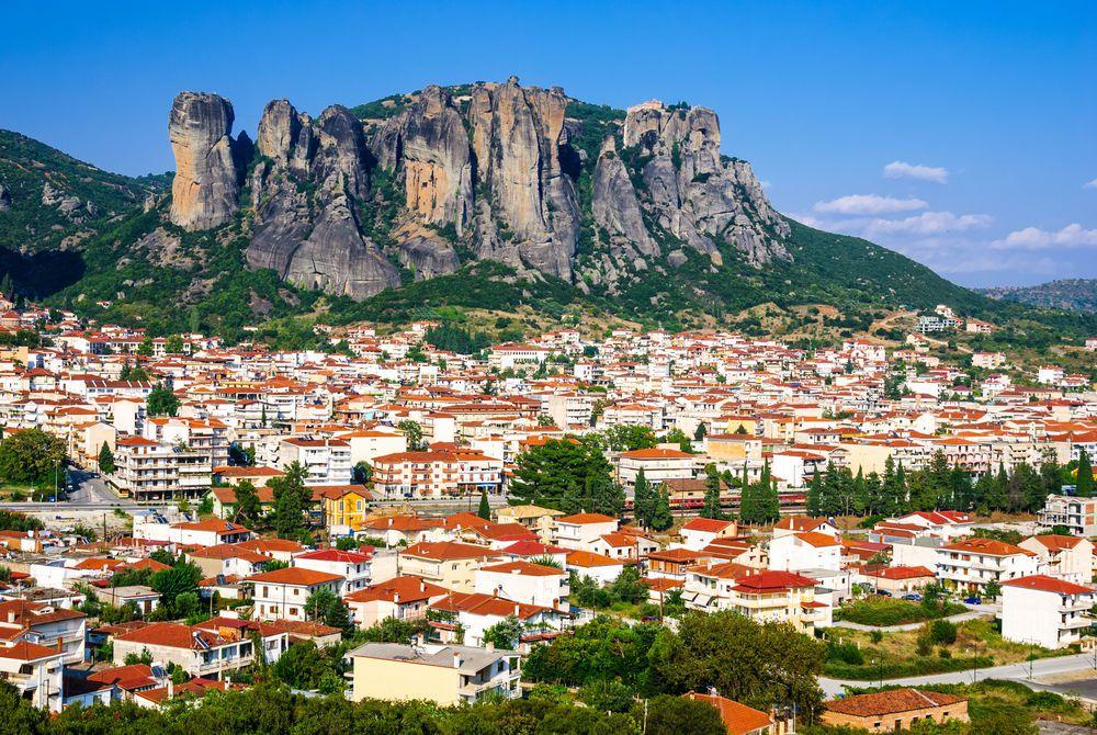 Panorama of Kalambaka city, the landmark of six monasteries in Greece.