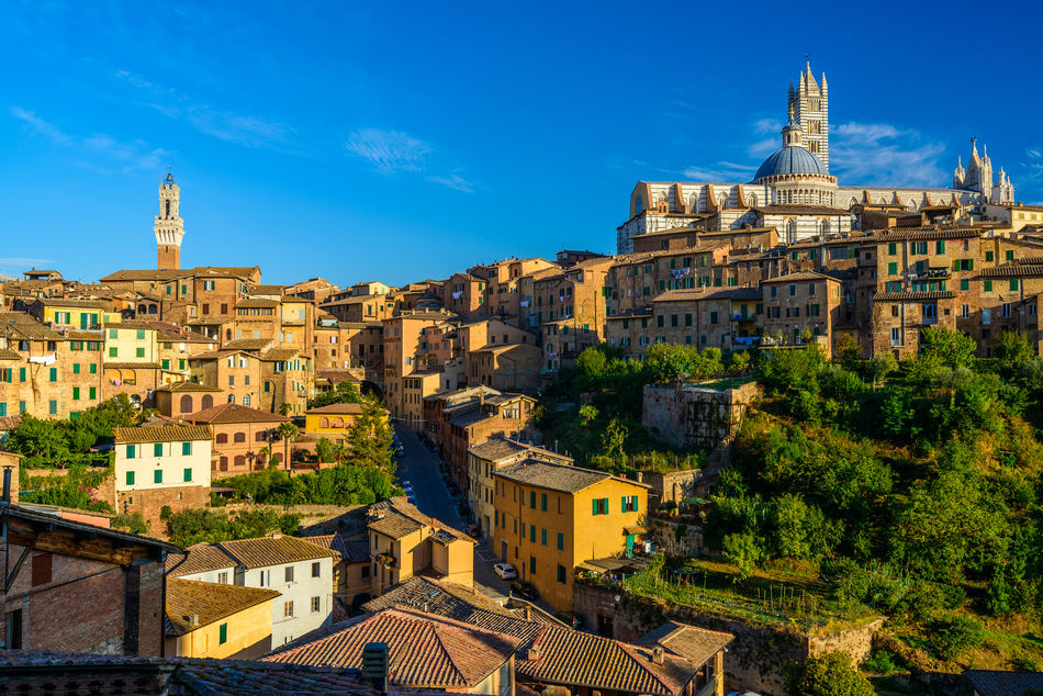View of the Tuscan town of Siena, Italy