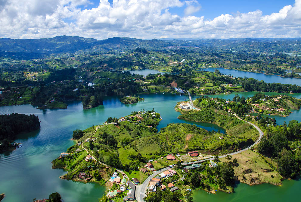 Panoramic view from Rock of Guatape in Medellin